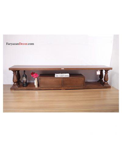 میز تی وی انگلیسی دو کشو چوب راش