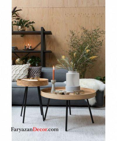میز لبه دار روکش چوب بلوط